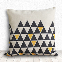 Pillow Cover, Geometric Pillow, Triangle Pillow Cover, Linen Pillow Cover 18x18 - Printed Geometric - 113