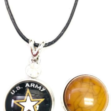 "US Army Proud Parent Snap on 18"" Leather Rope Diamond Pendant Necklace W/ Extra 18MM - 20MM Snap Charm"