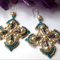 Beaded Teal Gold Gothic Cross Cream Swarovski Pearl Sterling Earrings