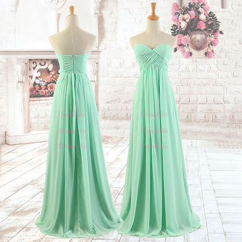 Sweetheart Pleated Empire Waist Chiffon Bridesmaid Dresses/Long Bridesmaid Dresses/Prom Dresses/Evening Dresses/Formal Dress/X069