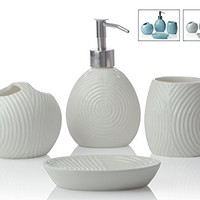 Designer 4-Piece Ceramic Bath Accessory Set | Includes Liquid Soap or Lotion Dispenser w/ Premium Metal Pump, Toothbrush Holder, Tumbler, Soap Dish | Zen Garden | Alpine White