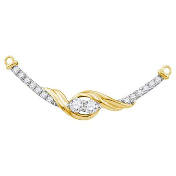 14kt Yellow Gold Womens Round Diamond 2-stone Hearts Together Bar Pendant Necklace 1/3 Cttw