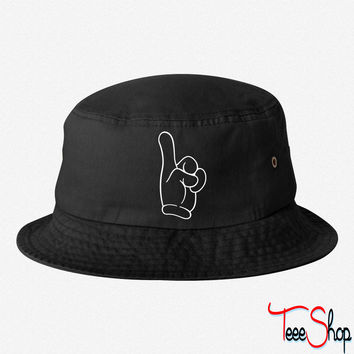 pointing finger bucket hat