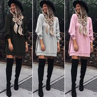 Womens Long Sleeve Sweatshirt Casual Hoodie Mini Dress Jumper Pullover Long Tops