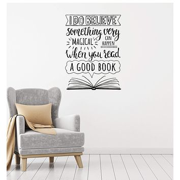 Vinyl Wall Decal Open Book Inspirational Quote Reading Room Library Interior Stickers Mural (ig5918)