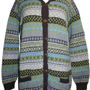 Wool Cardigan Sweater Hand knitted in Nepal