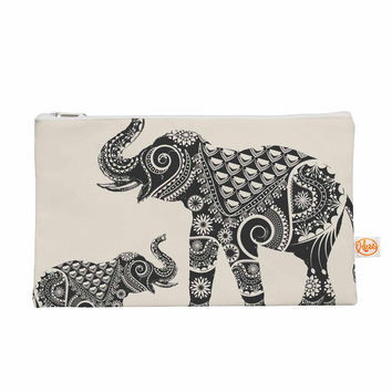 "Famenxt ""Ornate Indian Elephant-Boho"" Black Beige Everything Bag"