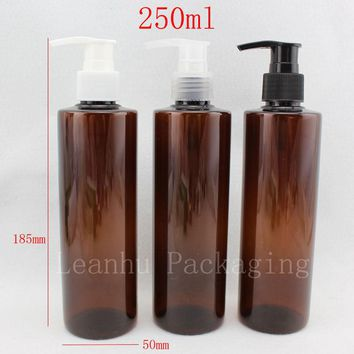 250ml X 20 brown round lotion pump shampoo bottle containers for cosmetic packaging ,amber PET bottle with liquid soap dispenser
