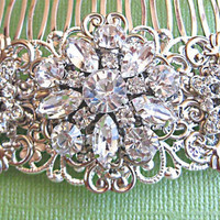 """Wedding hair comb,bridal hair accessories, Vintage Style Hair Accessory,""""Floral Ice"""" Collection"""