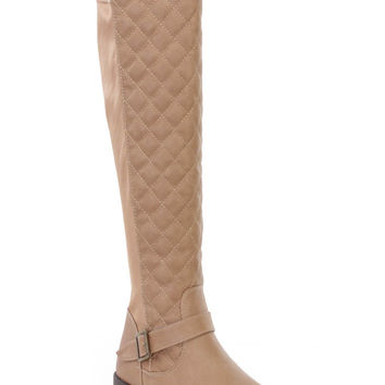 Camel Quilted Fall Riding Boots Faux Leather