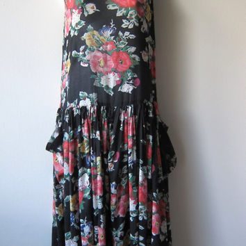 Black Floral Drop Waist 90s Grunge Dress