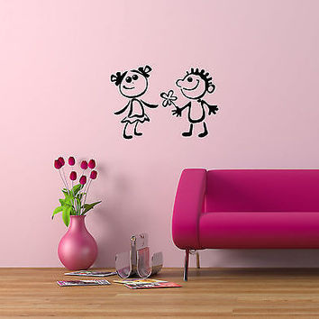 Wall Mural Vinyl Decal Sticker Interior Design Little Girl and Boy Childs OS491