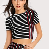 Mixed Striped Crop Top