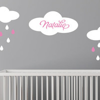 Custom Name Decal - Baby Girls Name - Clouds with raindrops personalized decal Free US Shipping