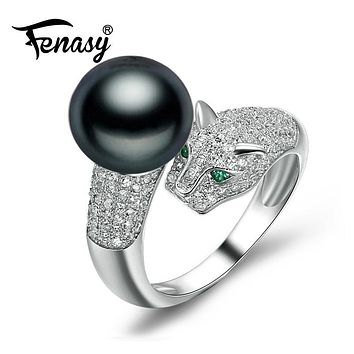 FENASY pearl jewelry Natural pearl rings Black Pearl wedding rings,adjustable freshwater Rings for Women Gift,jewelry box