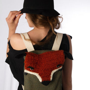 small fox backpack crochet green orange black with buttons ipad backpack FREE SHIPPING