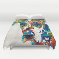 Colorful Great Dane Art Dog By Sharon Cummings Duvet Cover by Sharon Cummings