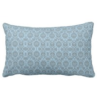 Intricate Vintage Floral - Light Blue Pillow