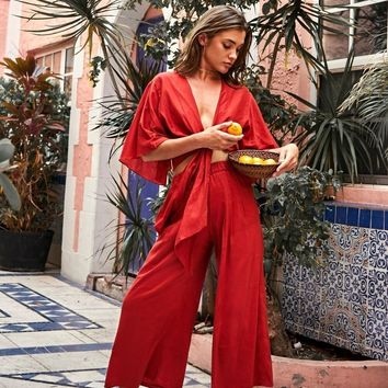 Coco Red Culottes Pants