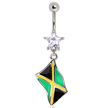 316L Surgical Steel Jamaican Flag Navel Ring