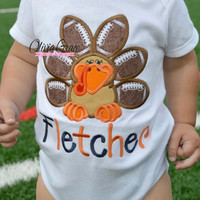 Thanksgiving Football Turkey Embroidered Applique Shirt or Bodysuit