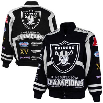 Oakland Raiders Black-Silver 3X Super Bowl Champions Commemorative Cotton Canvas Full Button Jacket