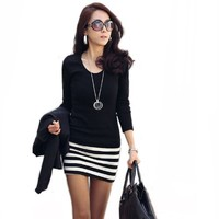 Bottoming Skirt Ladies Long Sleeve Crew Neck Stripe Casual Cotton Mini Dress