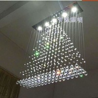 100CM Modern Chandelier Ceiling Lamp Lighting LED Cystal Ball Hanging Wire Square Pendant Light Rain Drop Curtain Fixture