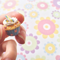 Cute Miniature Pastel Pink Blue Yellow Easter Cupcake Polymer Clay Charm