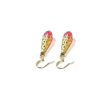 Swarovski Crystal  Earrings , Red Crystal Earrings , Faceted Crystal Teardrop Earrings , Gold Filigree Earrings , Vintaj Style Jewelry