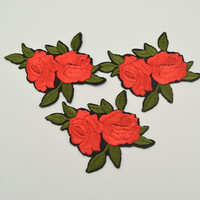 32pcs 2.1'' small Red Green Flower Patch Embroidered Floral Patches Iron on/sew on Applique Lace Venise