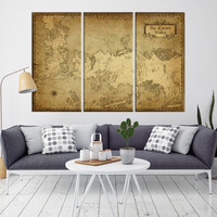 63700 - Large Wall Art Game of Thrones Canvas Print - Game of Thrones Map Poster Print