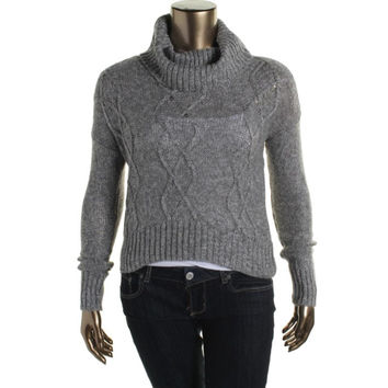 Oh MG! Womens Juniors Cable Knit Cropped Crop Sweater