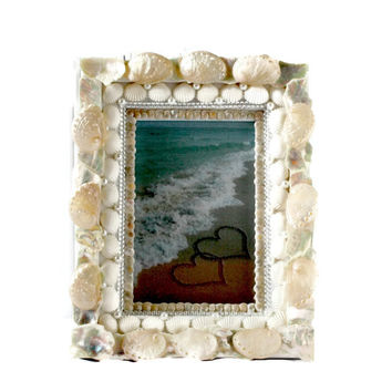 Pearl White and Jewels Seashell Picture Frame