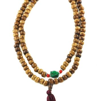 Tantric and Healing Brown Bone Mala 108 Beads with Turquoise