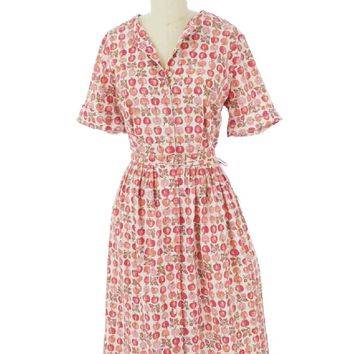 50s Apple Print Shirtwaist Dress-50s Vintage Dresses