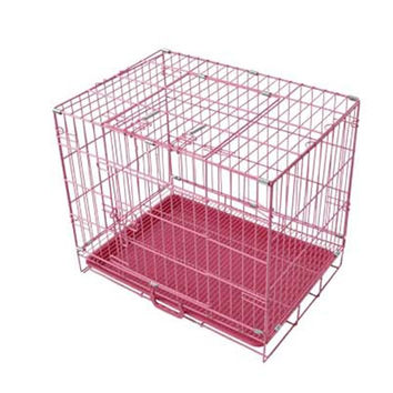 dog cage pet cage wire cage cat cage folded cage different size   50cm   Pink