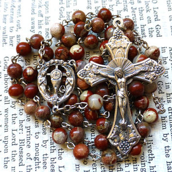 Blessed Sacrament Rosary - Eucharist Rosary, Catholic, Red Flake Jasper Gemstone Beads
