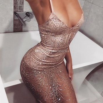New Women Bodycon Slim Fashion Sequins Sparkle Spaghetti Strap Short Mini Dress Bandage Sexy Dress Hot Ladies