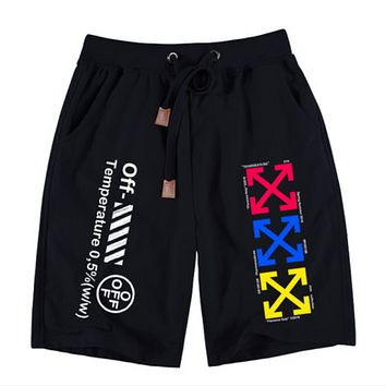 Off White Fashion New Letter Print Multicolor Arrow Print Women Men Sports Leisure Shorts Black