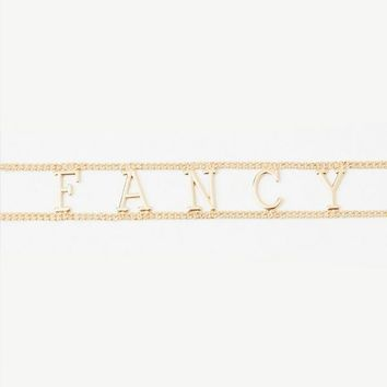 Missguided - Gold Fancy Slogan Choker Necklace