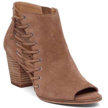 MDIGYW3 Lucky Brand Hartlee Sesame Oiled Suede Heeled Booties