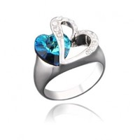 Black Friday Christmas Gift Double Love Heart of Ocean Silver Tone Ring with Deep Blue Crystal Gift R347