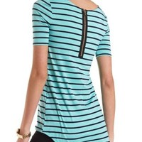 Striped High-Low Tee by Charlotte Russe - Turquoise Combo