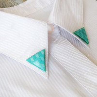 Mint Triangle geometric pattern Collar Clips Collar Brooch Collar Pin