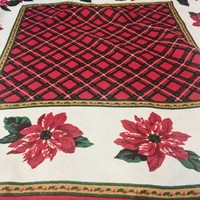 Vintage Christmas Scarf, Poinsettia And Plaid Print, Vintage Accessory, Neck Scarf, Versatile, Craft/DIY Project