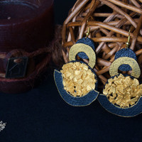 Leather earrings jewelry. Gold leather earrings jewelry. Broken sea shells earrings jewelry. Natural leather. Fake leather