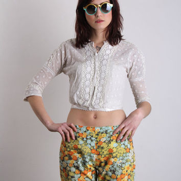 Antique Edwardian Blouse . Lace .  Early 1900s Top . Shirt