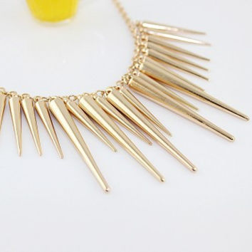 Punk Pendant Necklace Gold Silver Color Chain Spike Maxi Statement Necklaces & Pendants For Women Jewelry-0330