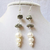 Ivory Freshwater Pearls & Polished Pyrite Nugget Dangle Earrings